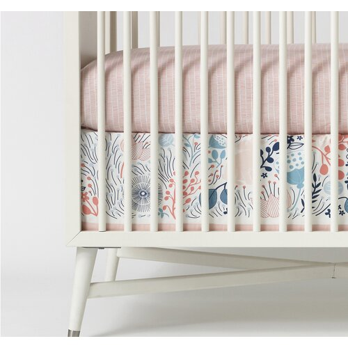 DwellStudio Meadow Powder Blue Canvas Crib Skirt