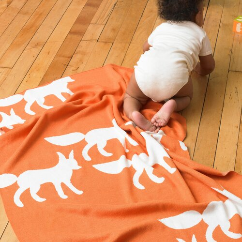 DwellStudio Foxes Graphic Knit Blanket