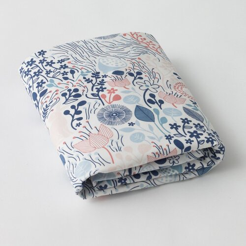 DwellStudio Meadow Powder Blue Fitted Crib Sheet