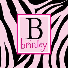 Personalized Zebra Print Monogram Canvas Wall Art