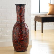 Mosaic Aged Copper Round Decorative Vase