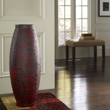 Embossed Red Round Floor Vase