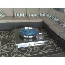 Outdoor Stainless Steel Gas Fire Pit with Black Granite Top