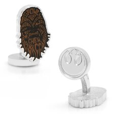 Star Wars Silver Plated Chewbacca Typography Cufflinks