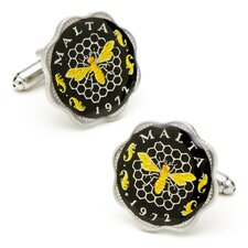Hand Painted Malta Coin Cufflinks