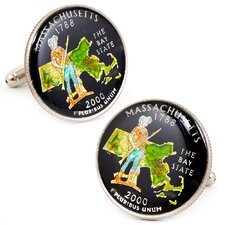 Hand Painted Massachusetts State Quarter Cufflinks