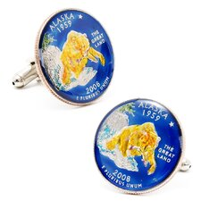 Hand Painted Alaska State Quarter Cufflinks