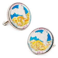 Hand Painted Yellowstone National Park Quarter Cufflinks