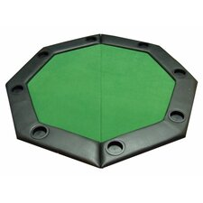 Padded Octagon Folding Poker Table Top with Cup Holders in Green