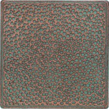 "Castle Metals 4-1/4"" x 4-1/4"" Hammered Decorative Wall Tile in Aged Copper"
