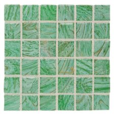 "Elemental Glass 12"" x 12"" Mosaic Tile in Kiwi Punch"