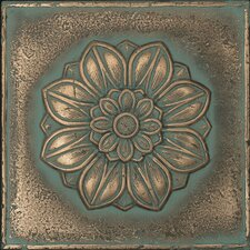"Metal Signatures Rosette Rounded 4-1/4"" x 4-1/4"" Decorative Tile in Aged Bronze"