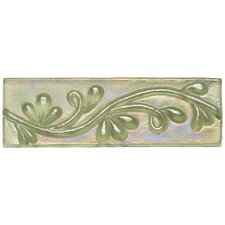 "Cristallo Glass 3"" x 8"" Decorative Vine Chair Rail in Peridot"
