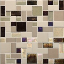 "Keystones Blends 12"" x 12"" Block Random Porcelain with Oceanside Glass Mosaic Tile in Sunset Cove"