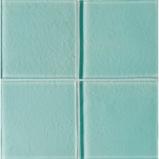 "Molten Glass 4 1/4"" x 4 1/4"" Wall Tile in Aqua Mist"