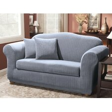 Stretch Pinstripe Two Piece Loveseat Slipcover