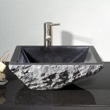 Irregular Rectangular Vessel Bathroom Sink with Broken Edge