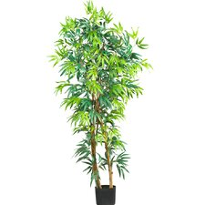 Silk Curved Bamboo Tree in Green