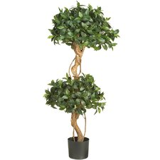 "48"" Silk Sweet Bay Double Ball Topiary Tree in Green"