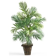 Silk Areca Palm Plant with Wicker Basket in Green