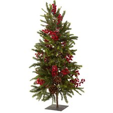 Nearly Natural 3' Green Pine and Berry Artificial Christmas Tree