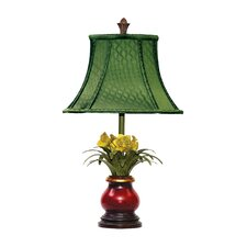 Flowers in Ruby Vase Table Lamp with Flower