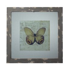 Wood Picture Frame with Butterfly Print