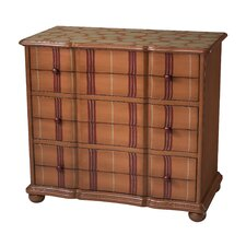 Tangerine Stripe 3 Drawer Chest