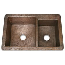 "Copper 33"" x 22"" Hammered 60/40 Kitchen Sink"