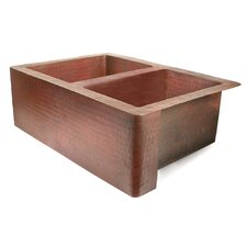 "Copper 33"" x 22"" 50/50 Well Farmhouse Kitchen Sink"