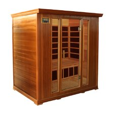 4-Person Cedar Infrared Sauna with Ten Carbon Heaters and Color Therapy Lights