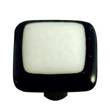 Borders Cabinet Knob in White with Black Border