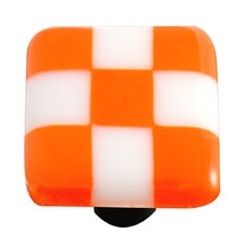 Lil' Squares Cabinet Knob in Opal Orange / White