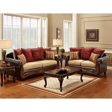 Philip Polyester-Cotton and Leatherette Sofa Set