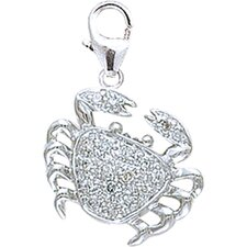 14K White Gold Diamond Crab Charm