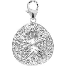 14K White Gold Diamond Sand Dollar Charm