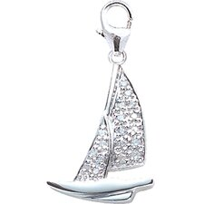 14K White Gold Diamond Catamaran Charm