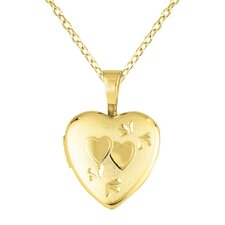 Heart Shaped Locket with Double Heart Necklace
