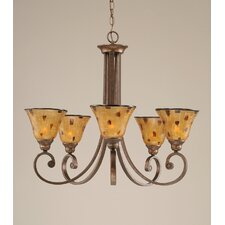 Curl 5 Light Up Chandelier with Pen Shell Shade