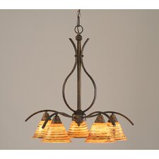 Swoop 5 Light  Chandelier with Glass Shade