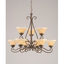 Olde Iron 9 Light  Chandelier with Crystal Glass Shade
