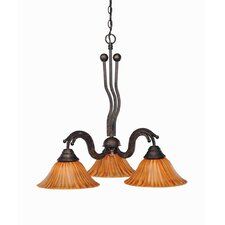 Wave 3 Light  Chandelier with Tiger Glass Shade