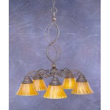 Jazz 5 Light  Chandelier with Tiger Glass Shade