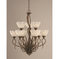 Leaf 9 Light  Chandelier with Italian Ice Glass Shade