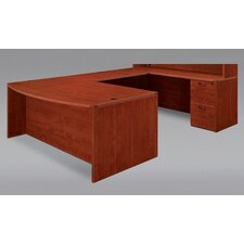 "Fairplex Bow Front U Executive Desk with 24"" Corner Credenza"