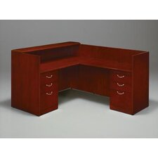 "Summit-Cope Flat Packed Right Reception ""L"" Desk with 6 Drawers"