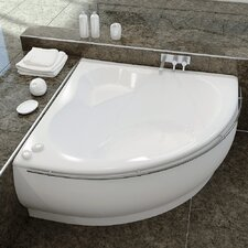 "Fame 59"" x 59"" Corner EcoMarmor Bathtub with Towel Rail"
