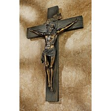 Crucifixion Cross of Jesus Christ Wall Sculpture in Faux Verdigris Bronze