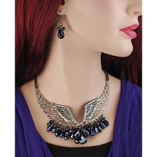 Winged Rapture Goth Angel Pendant and Earring Ensemble