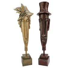 Sunday Best Man and Woman Bust Statue (Set of 2)